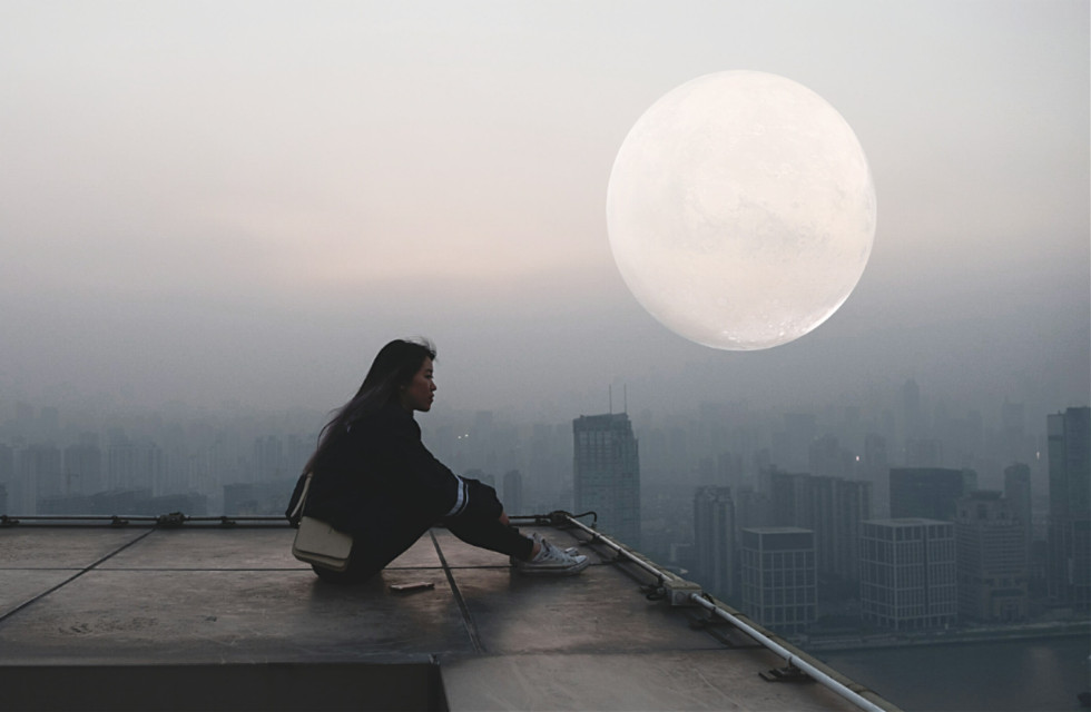 Some time alone can solve your problems.  #FreeToEdit #Urban #City #Moon #Girl @freetoedit