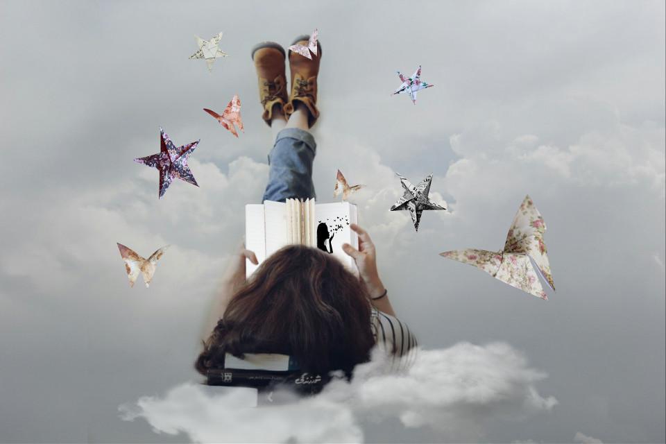 FEATURED ✌  #FreeToEdit  #edited #remixme #doubleexposure  #whatif #paperart  #stars #butterflies #woman #book Op @susienanda