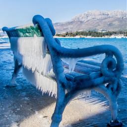 bench ice frozen