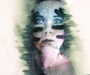 freetoedit edited doubleexposure polygonart woman