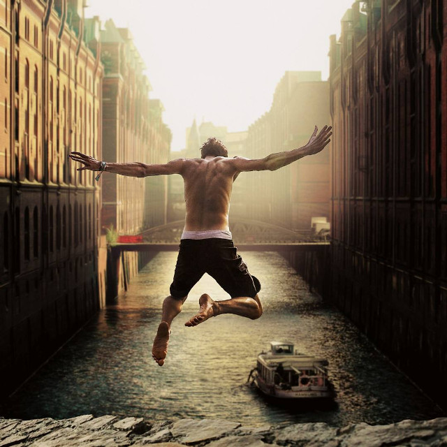 Unexpected things make life only worth living.  #jump #jumping #river #edited #surreal #surrealism  op: unsplash.com