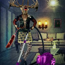 funny deerhead cleaning ba livingroom