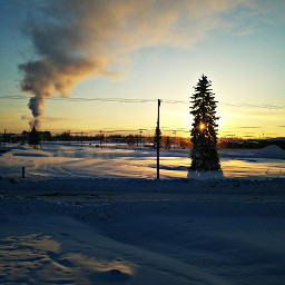 beautiful snow view sunrise powerplant