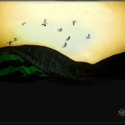freetoedit birds birdsinflight landscape hillside