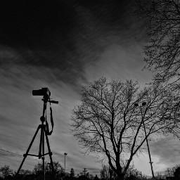 blackandwhite camera tripod canon sky
