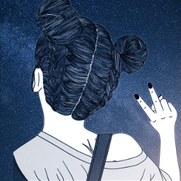 galaxy outlines girl freetoedit
