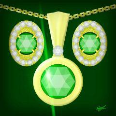 larissa#fashion#fashionart jewelry#drawings mydrawing myart#green#gold#earrings necklaces