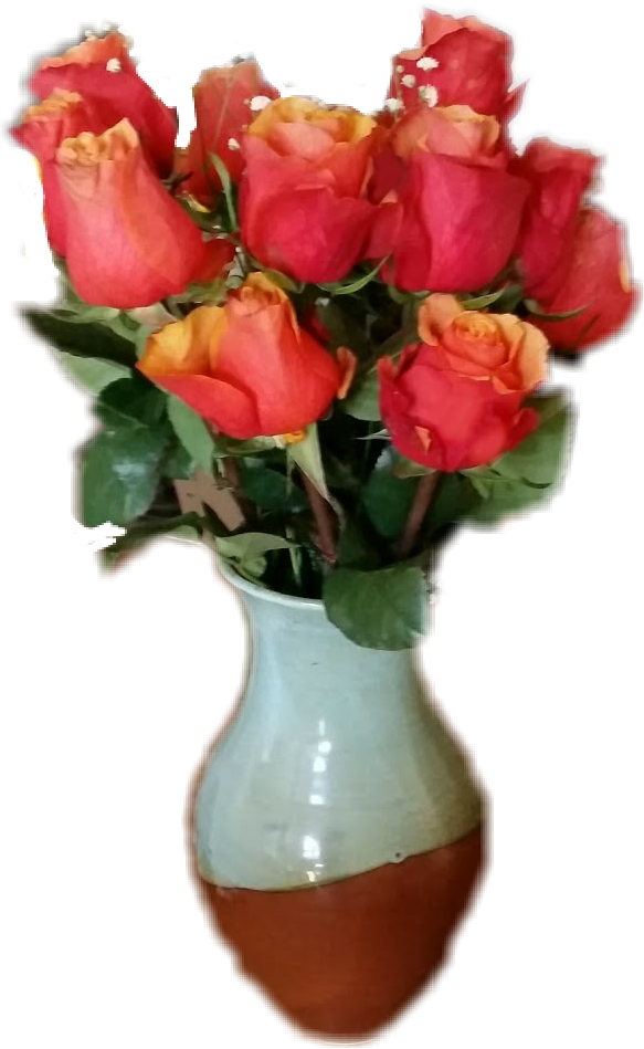 #roses #flowers #vase #orange #bouquet