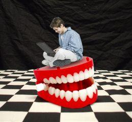 freetoedit giantteeth boyusinglaptop weird whimsical